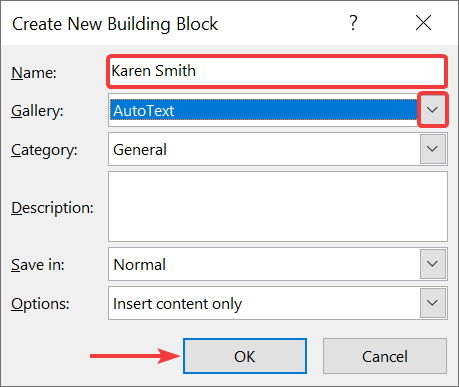 Create new building block as Autotext