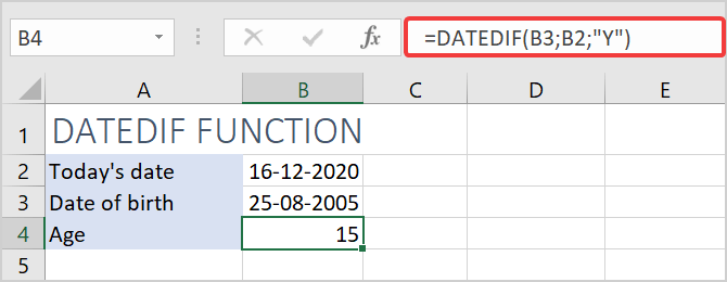Calculate age from date of birth with datedif function