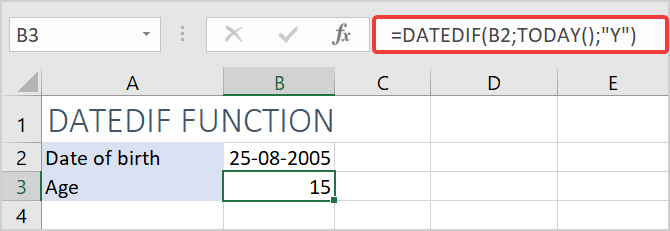 Calculate age in Excel with DATEDIF