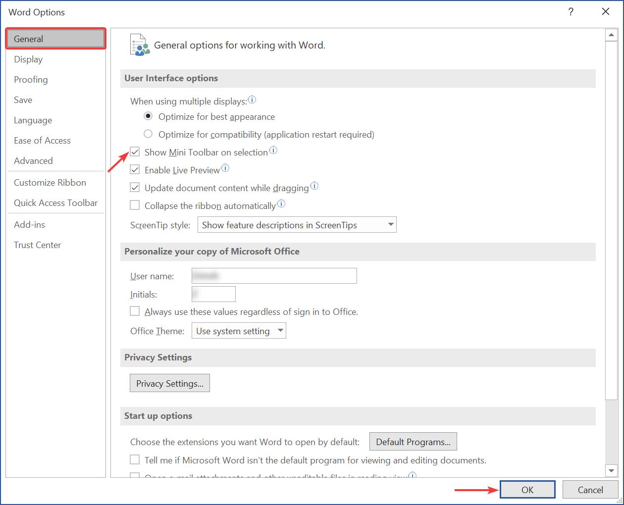 Show Mini Toolbar on selection