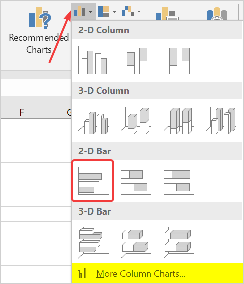 how to create a 2d bar chart in excel
