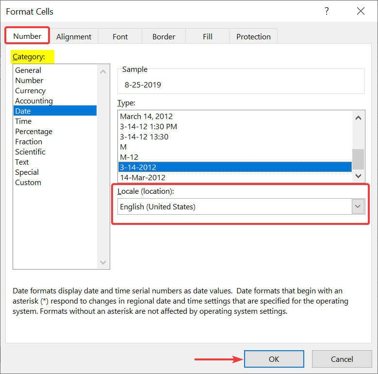 Change the dates in format cells