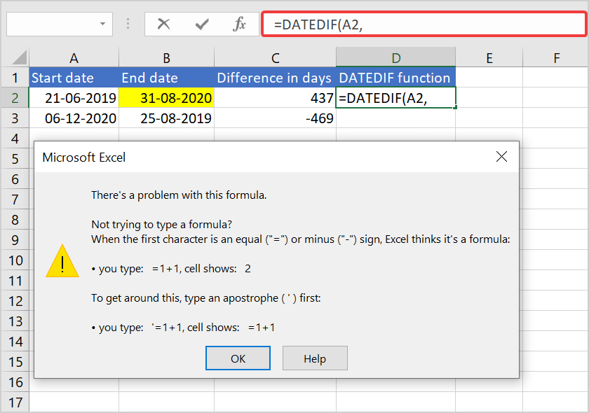 How to calculate difference between two dates in Excel