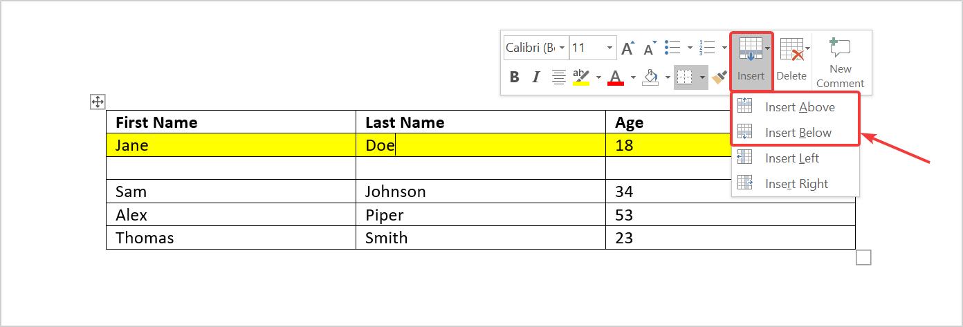 Use Mini toolbar to insert a row