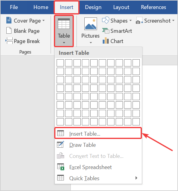 How to insert a large table in Word