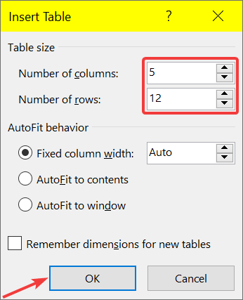 Insert large table in Word