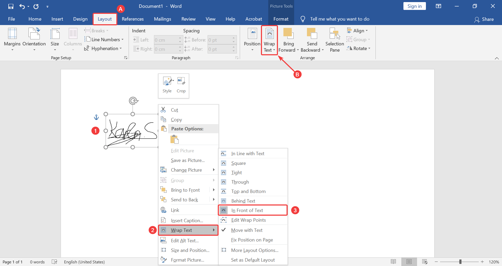 How to change the layout of the signature picture