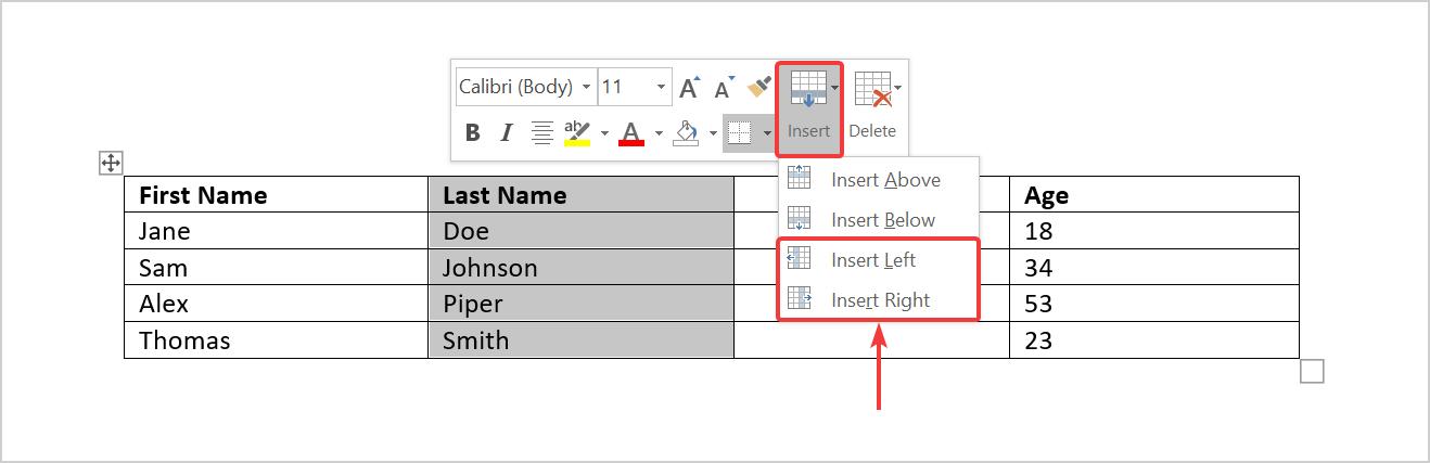 Insert column using the mini toolbar