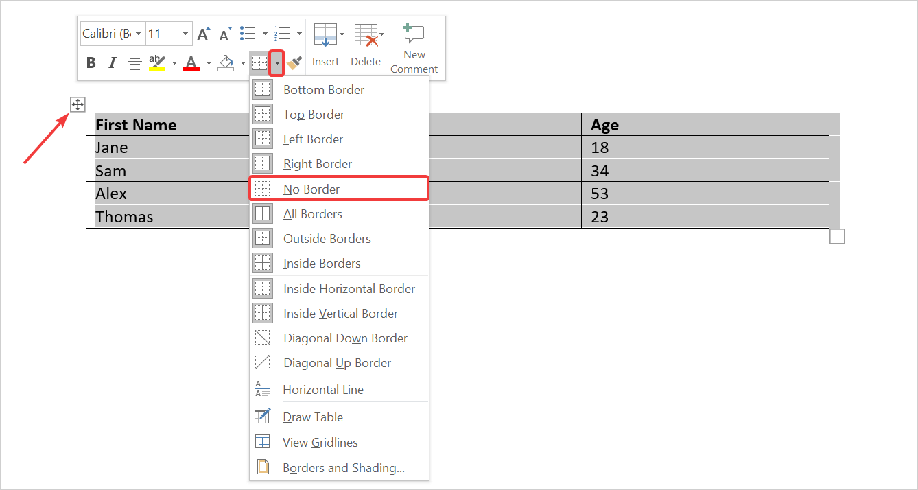 How to remove all border from a table in Word