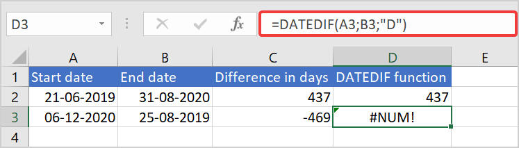 start date and end date example