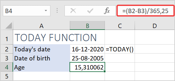 how to calculate age using a date of birth with today function