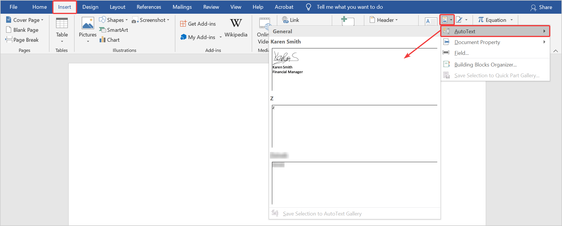 how to insert a signature block in Word using Autotext