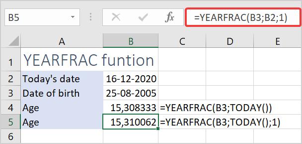 Use the YEARFRAC function