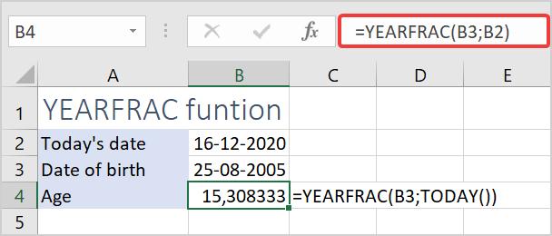 YEARFRAC function
