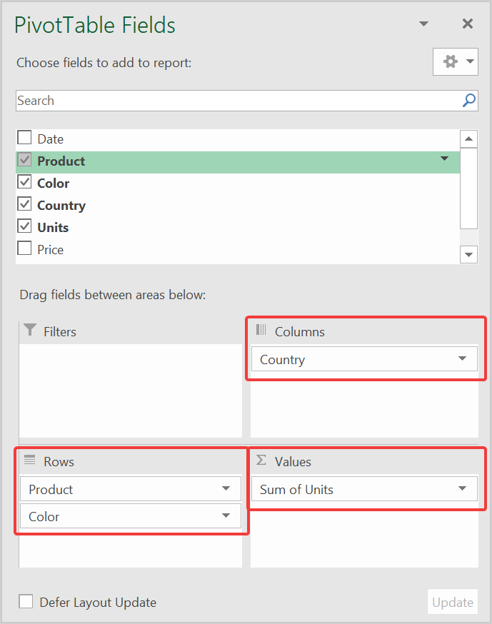 PivotTable Fields to areas