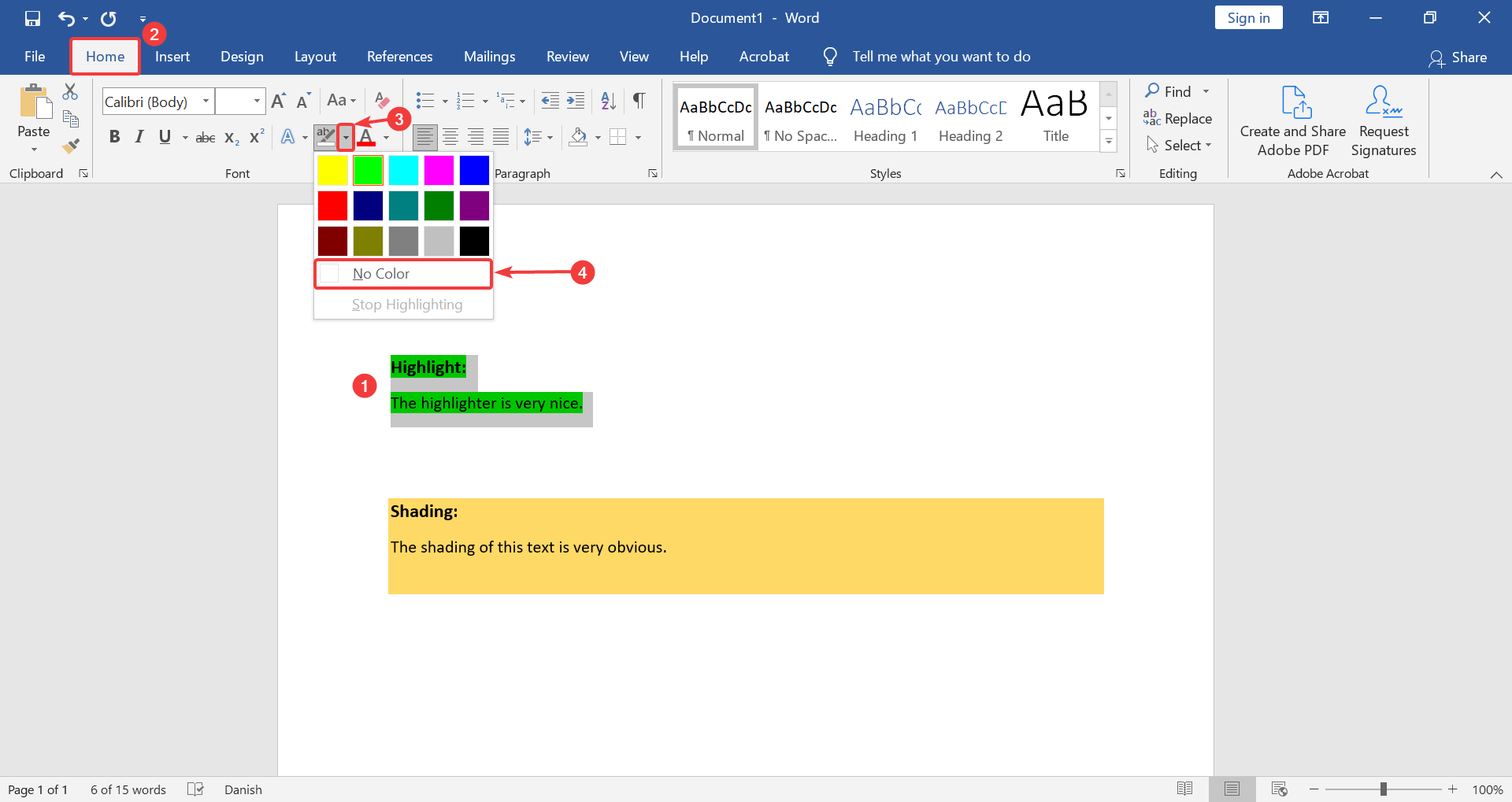 how to remove highlight text in Word