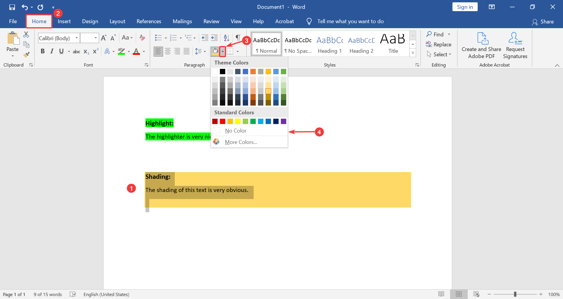 how to remove background shading in Word