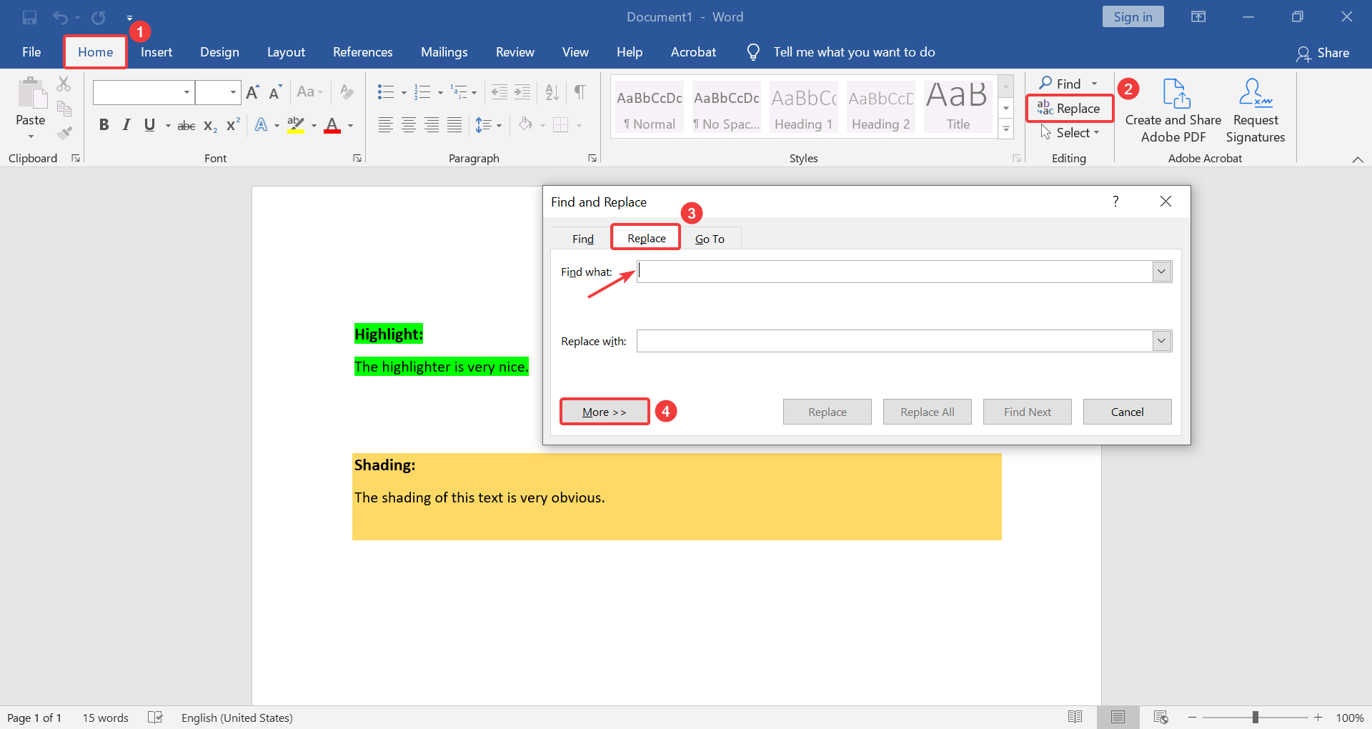 Replace function to remove highlight