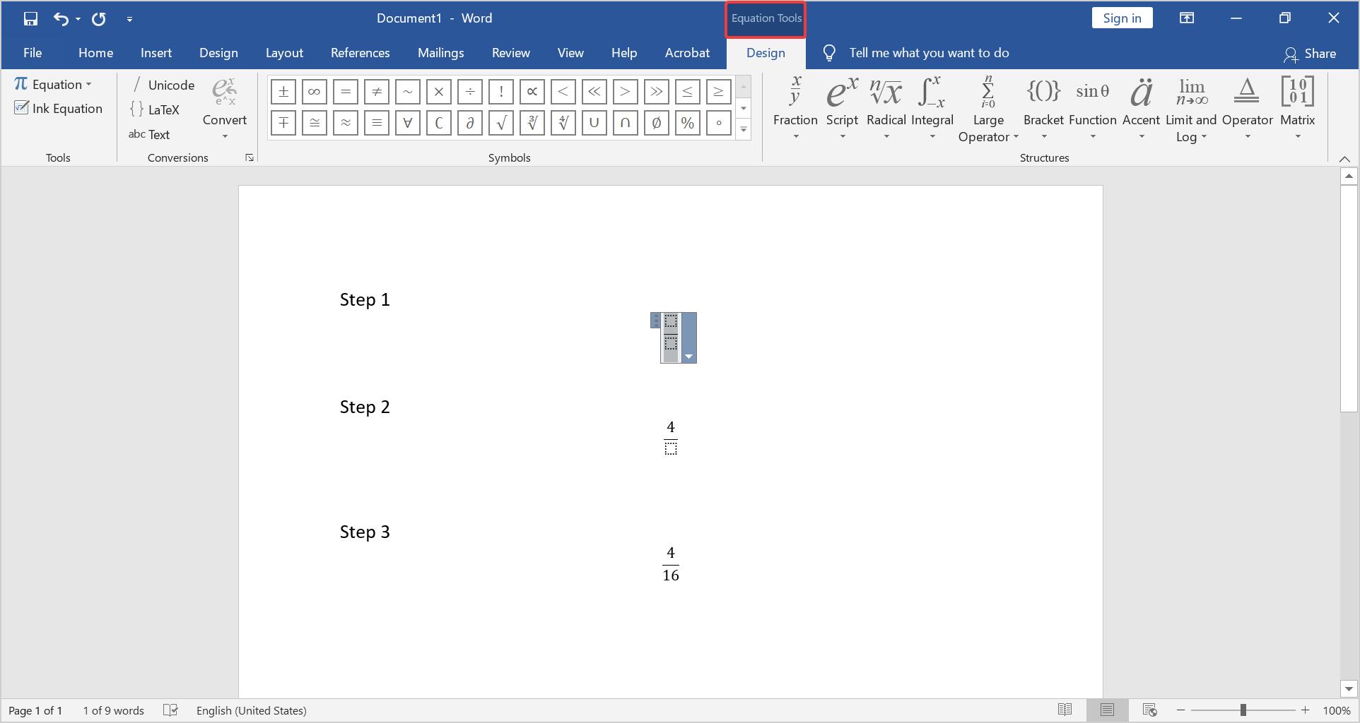 Custom fraction style