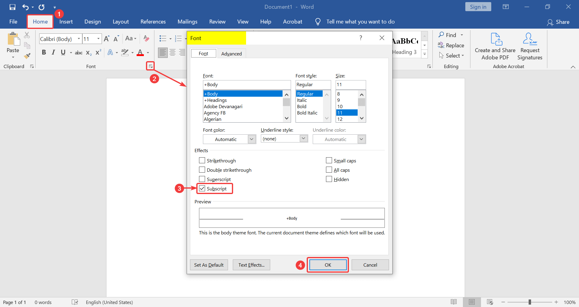 How to write a small number in Word