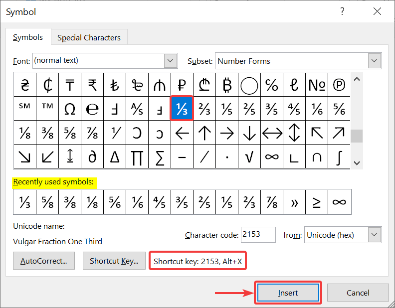 How to type fraction in ms Word