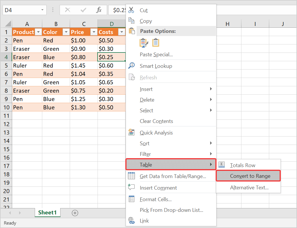 How to remove table formatting in Excel 2016
