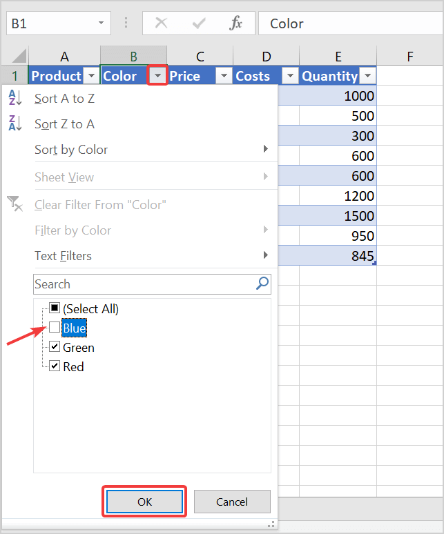 How to use data filters in excel