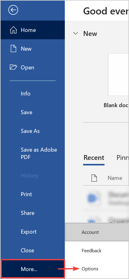 Click on File to open Options