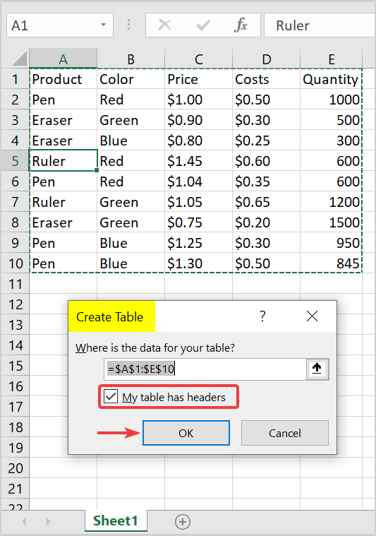 how to create an excel table with data