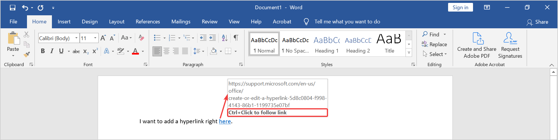 how to create a hyperlink in word