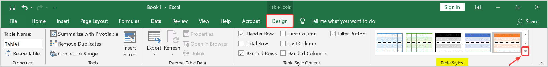More Drop down arrow in table styles