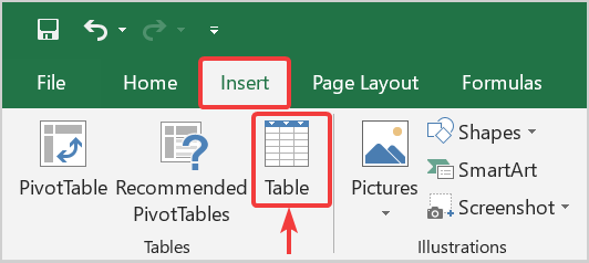 How to create an Excel table with headers