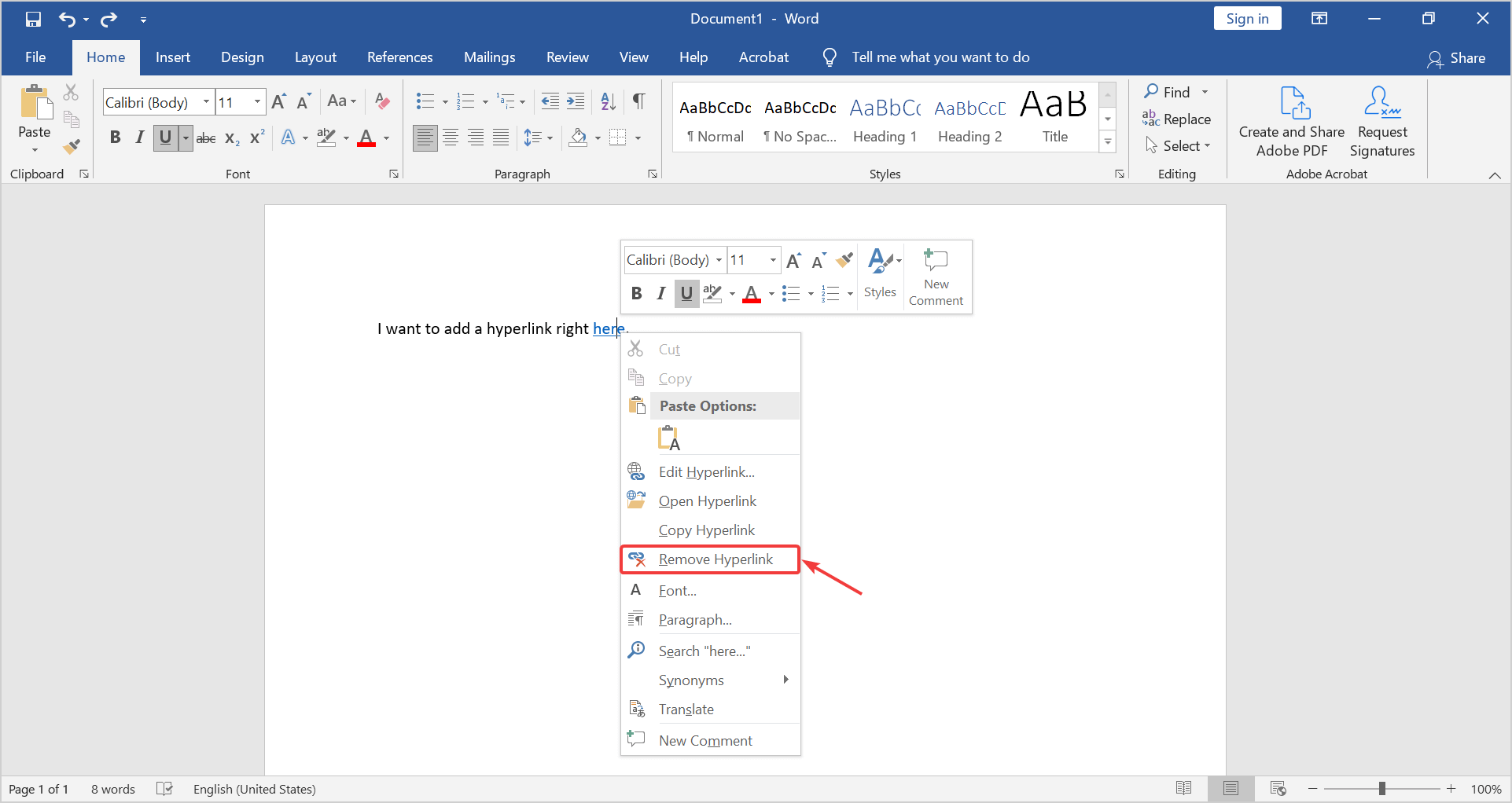 how to remove a hyperlink in a word document