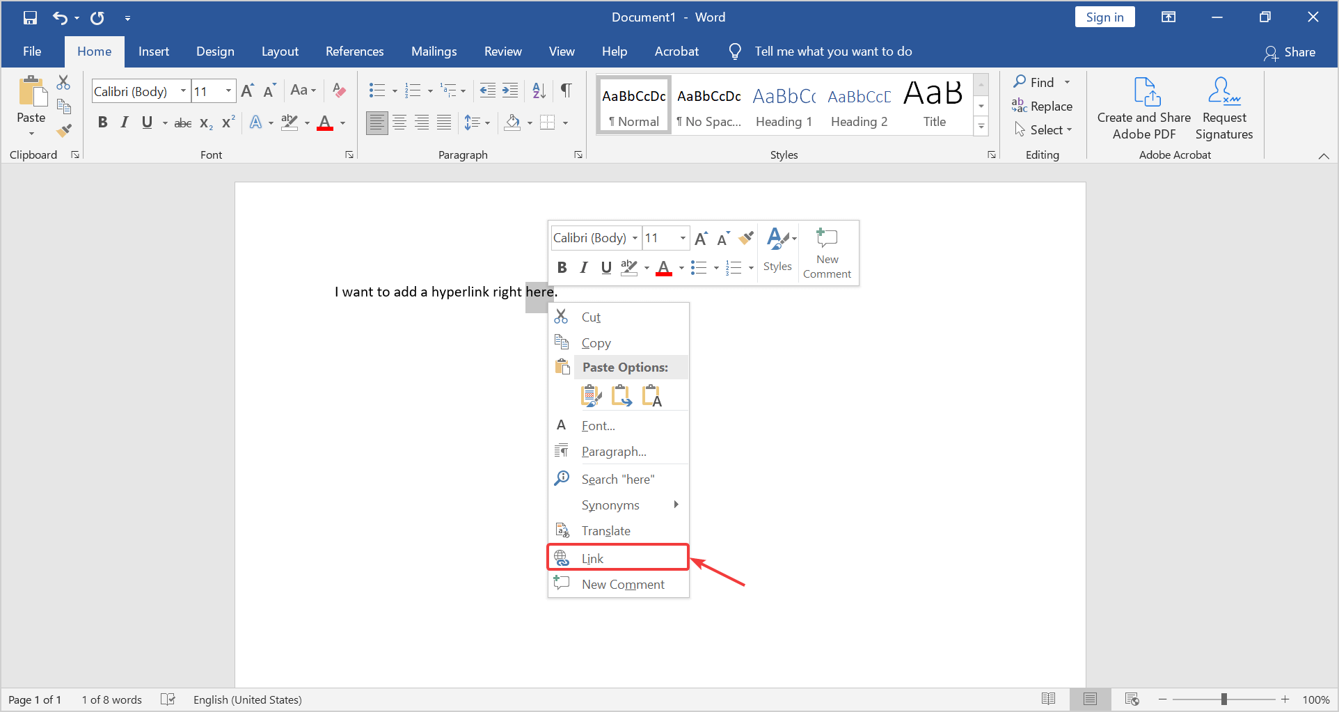 how do you create a hyperlink in a word document