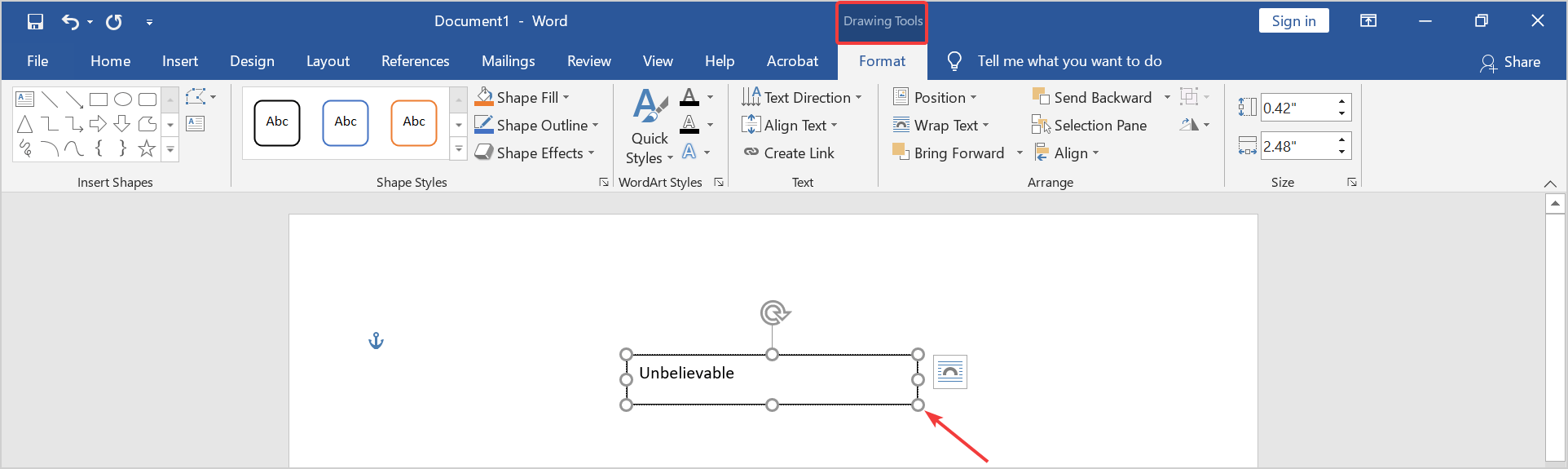 insert a text box in Microsoft word
