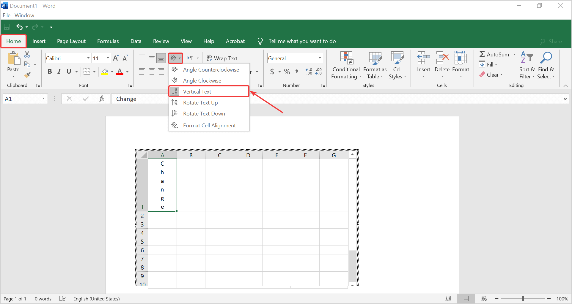 change alignment to vertical text in Excel
