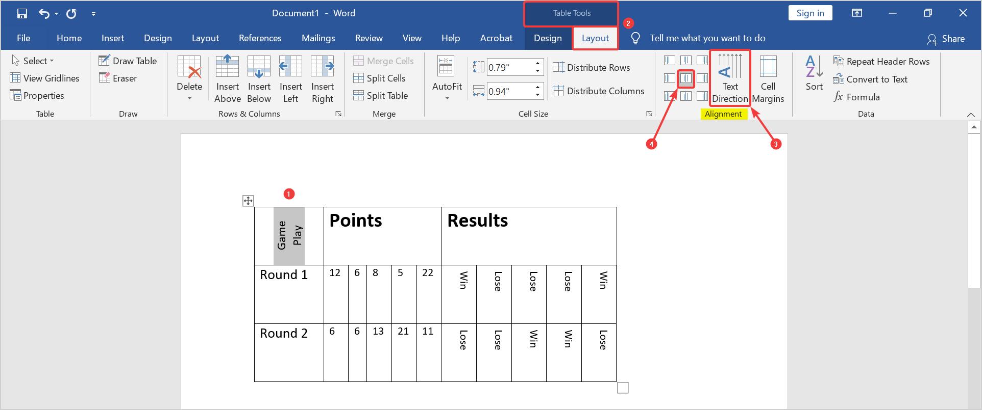 text alignment