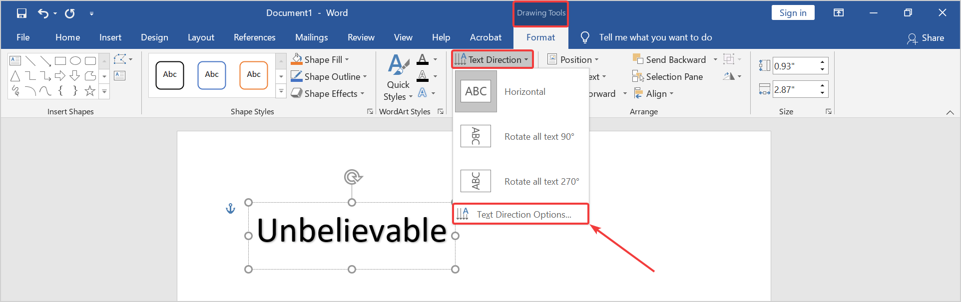 text direction option preview