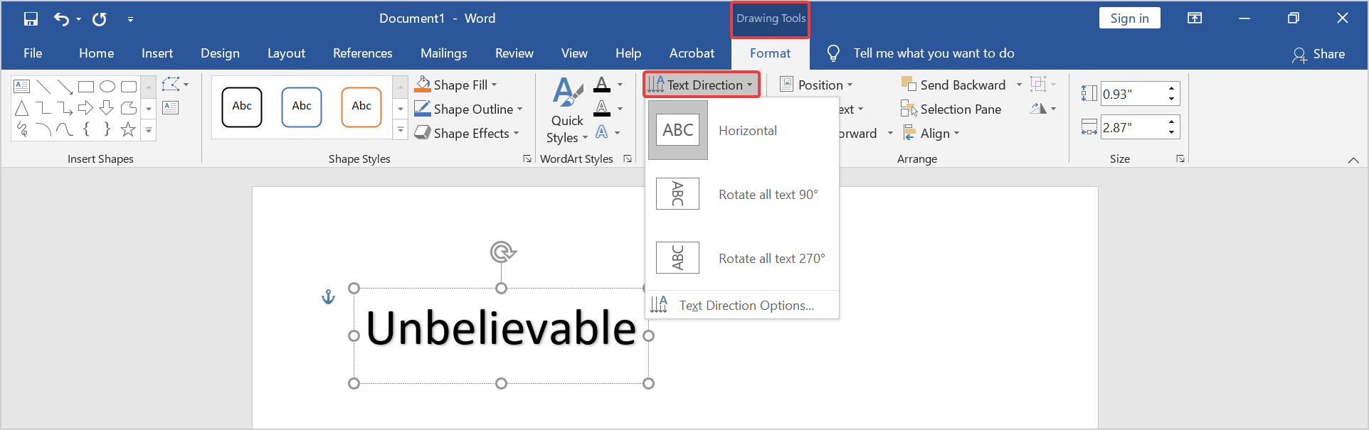 change the text direction in ms word