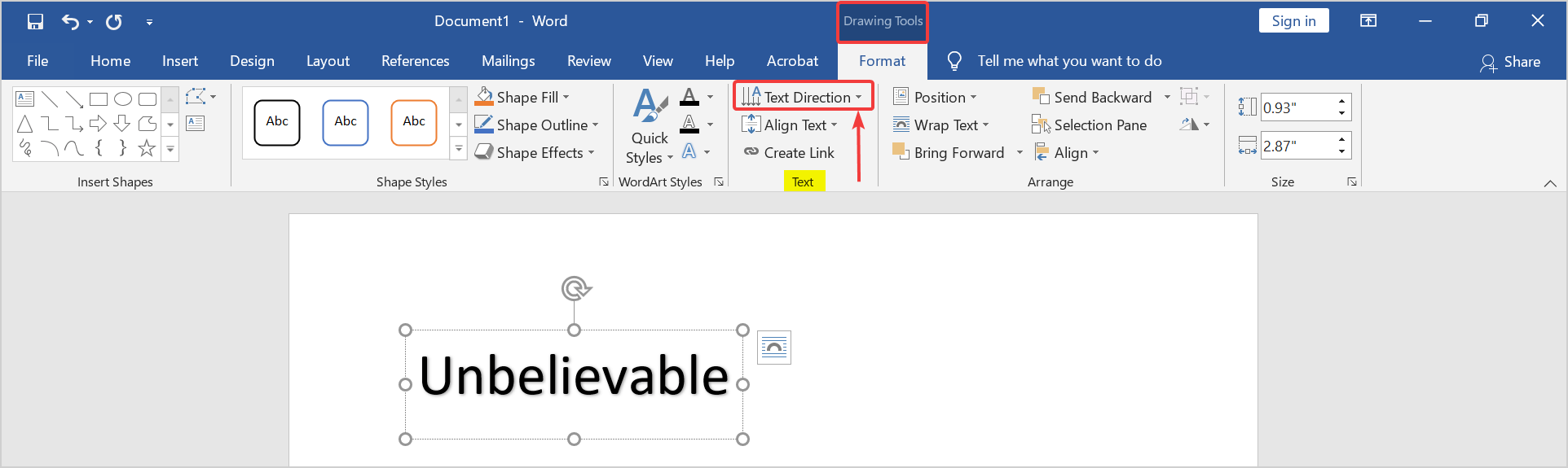 How to change the orientation of text in Microsoft Word