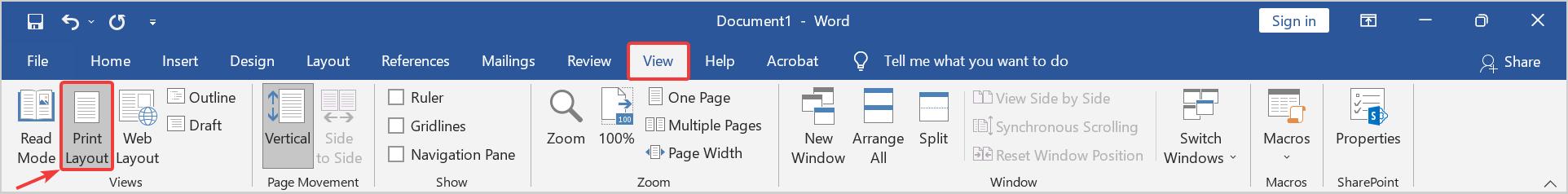 Print Layout Word. View Print Layout