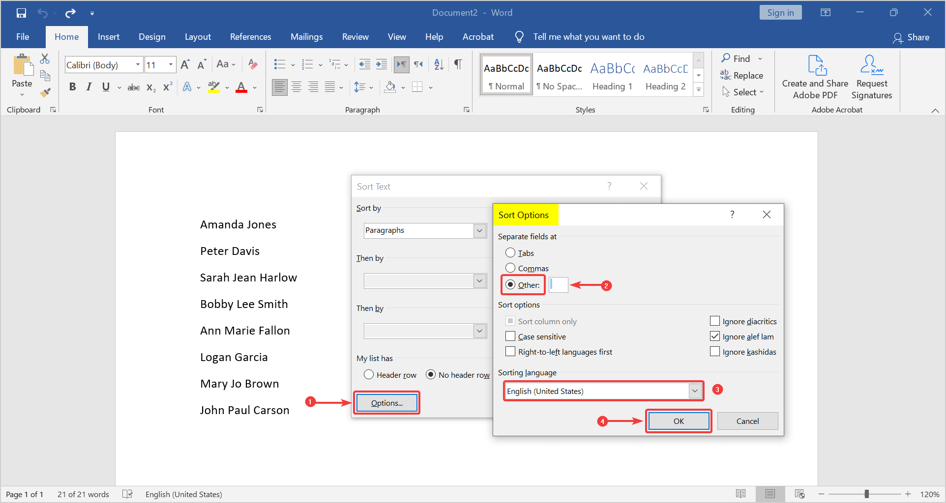 how to arrange names in alphabetical order in word. sort options