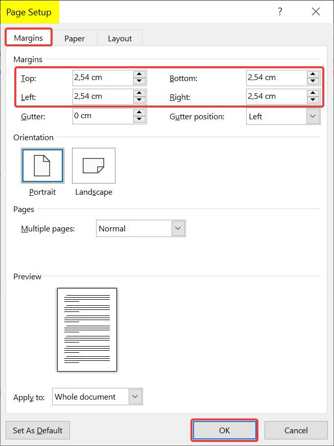 change margins in page setup