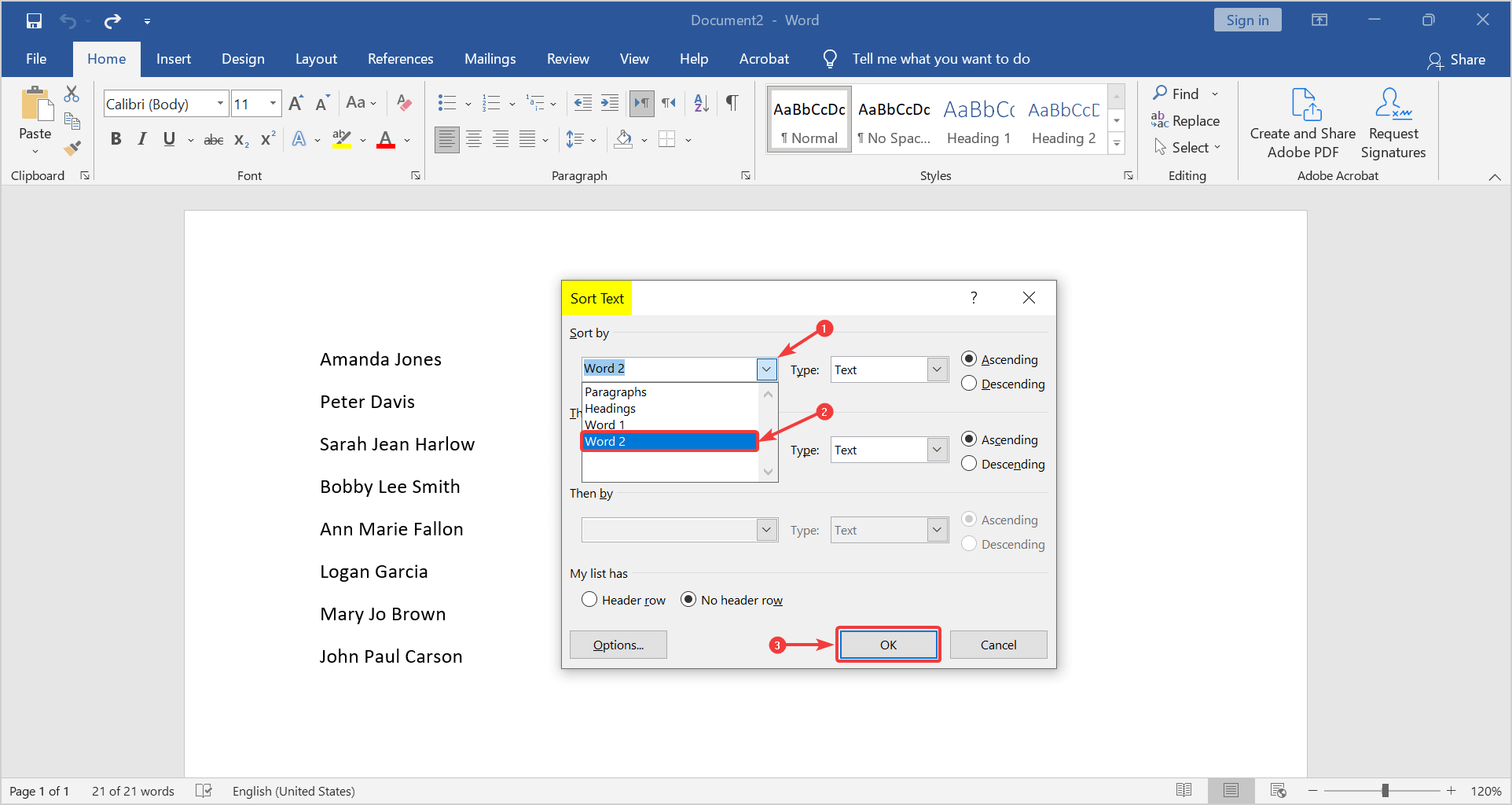 how to arrange names in alphabetical order in word. Surnames first in sort text box.