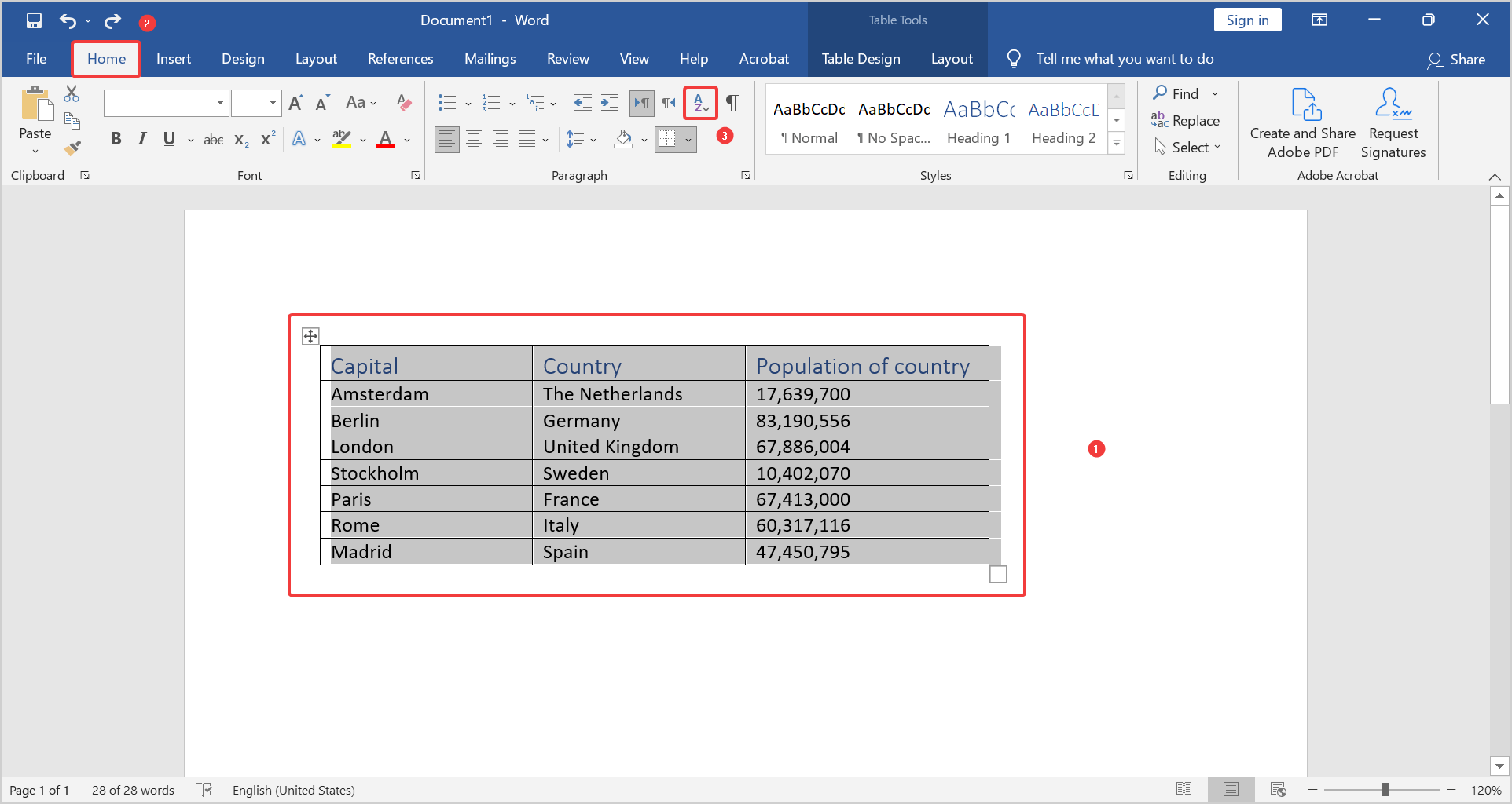 Sort table alphabetically by clicking on the sort icon.