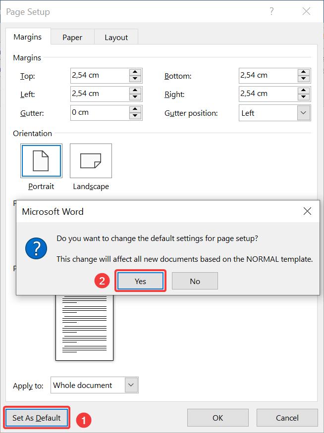 Set as default margins in Page Setup