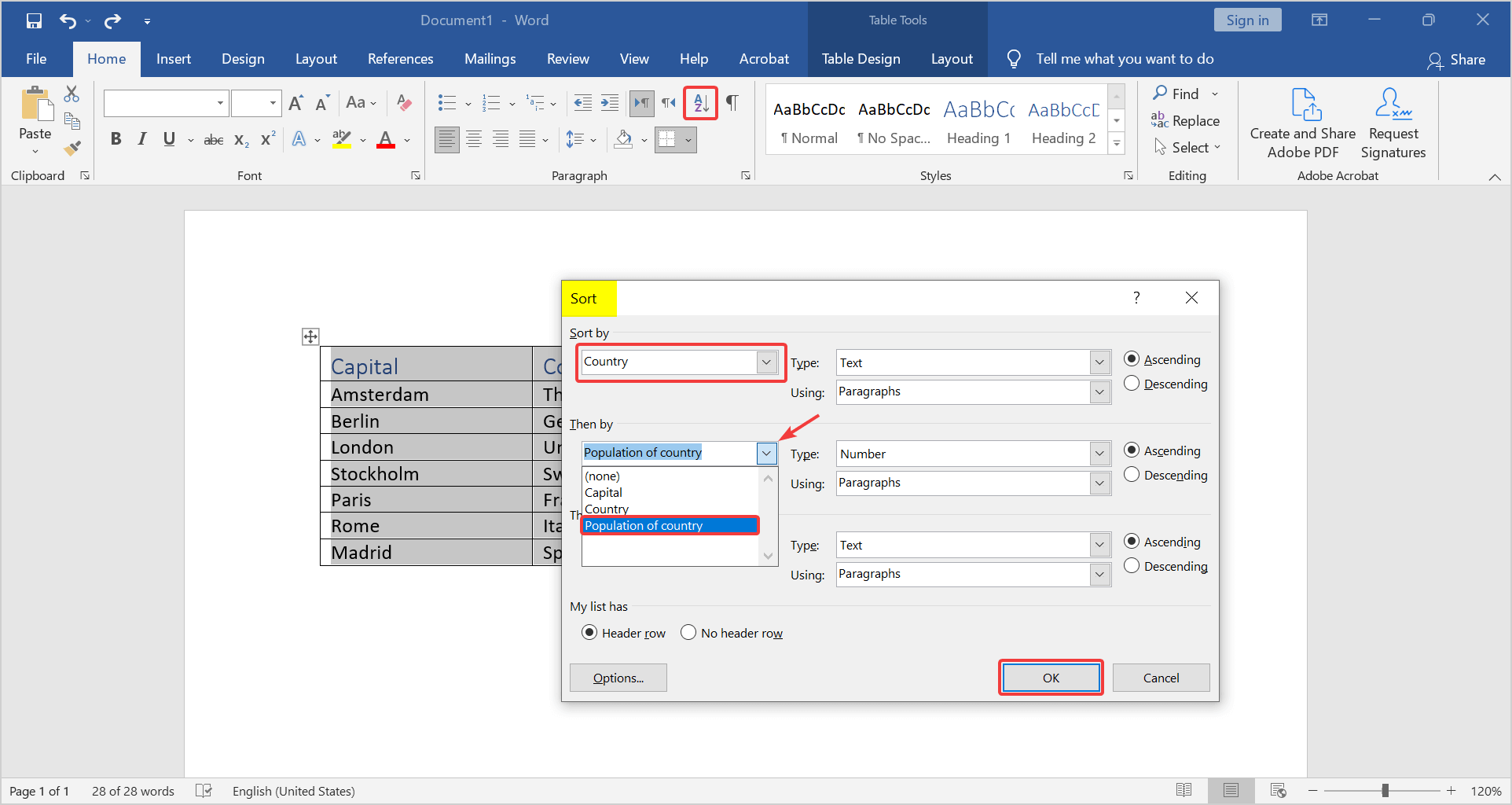 sort table alphabetically and click OK. how to arrange names in alphabetical order in word