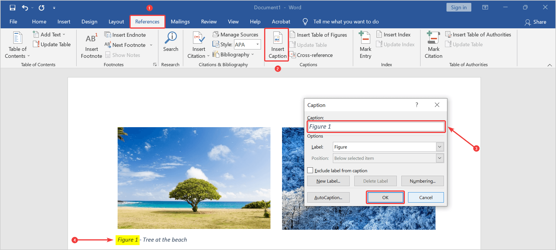 figure caption numbering incorrect in Word and switches numbers
