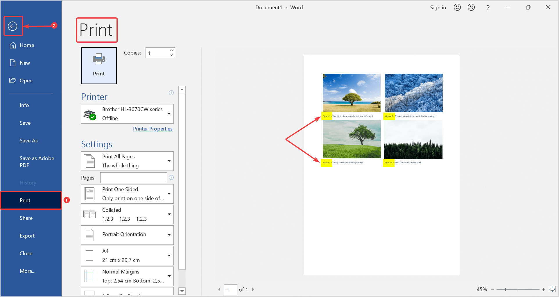 Update the caption numbers by switching to print preview and go back by clicking on the arrow